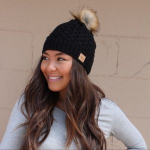 Black Cable Knit Palm Beanie
